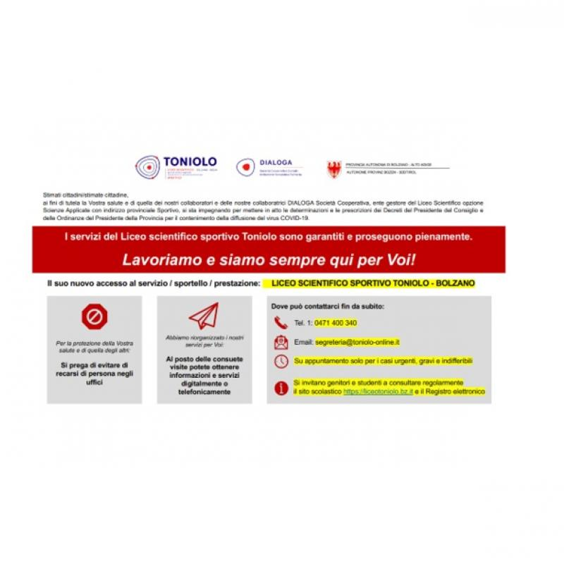 Per tutte le informazioni relative all'emergenza COVID-19 (Coronavirus) si rimanda all'apposita sezione sul sito.