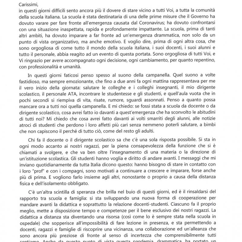 Lettera aperta della Ministra Lucia Azzolina alla Comunità Scolastica