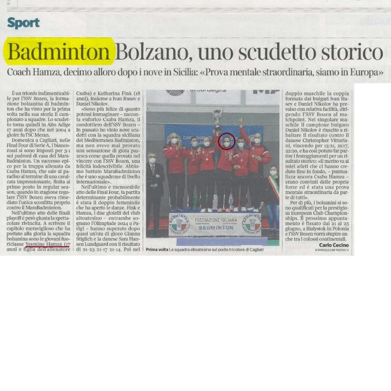 Storica vittoria dell'SSV Bozen, CAMPIONI D'ITALIA di Badminton dopo 17 anni grazie anche alla nostra YASMINE HAMZA !!!